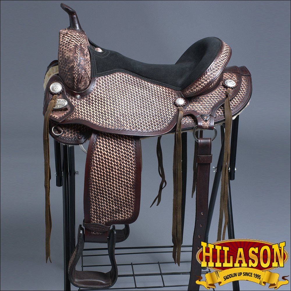 TT201RO-F HILASON LEATHER WESTERN FLEX-TREE TRAIL PLEASURE HORSE SADDLE 14""