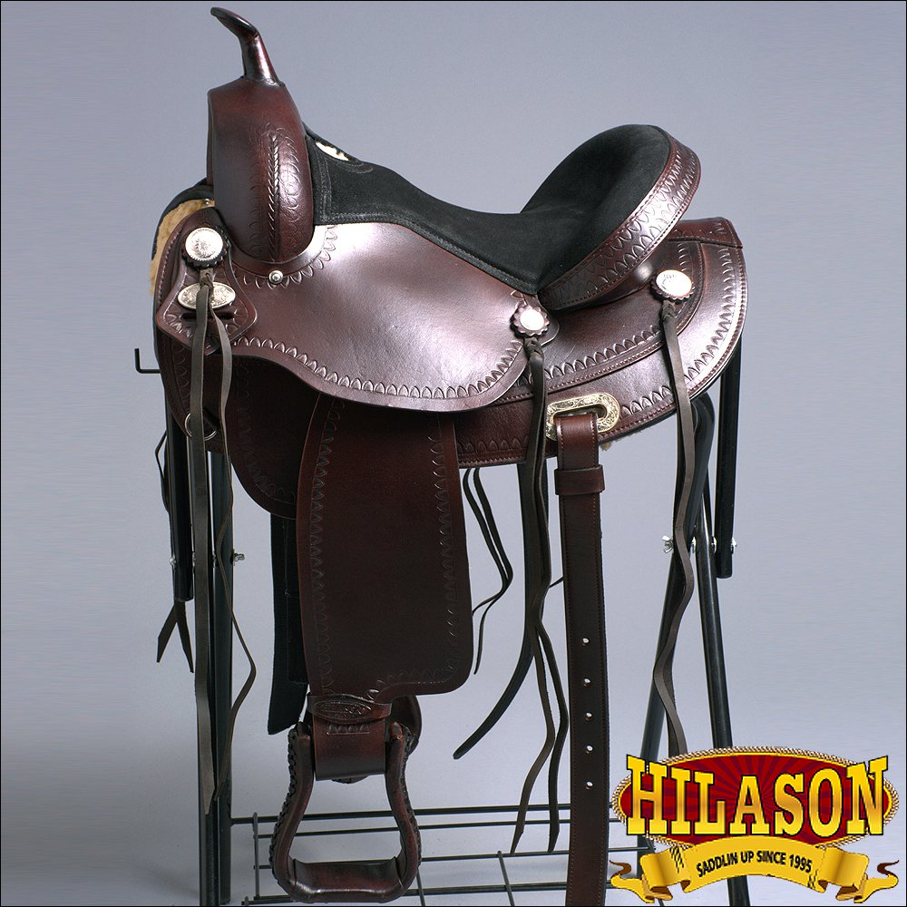 TO102-F HILASON TREELESS WESTERN LEATHER TRAIL PLEASURE HORSE RIDING SADDLE 15""