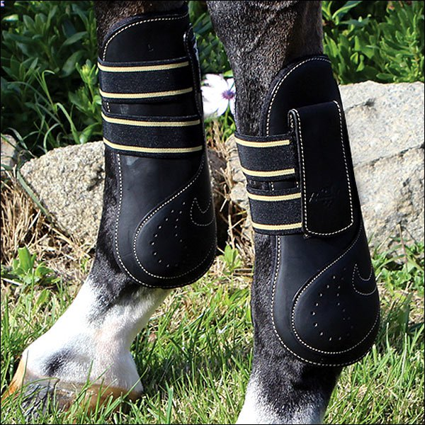 MEDIUM PROFESSIONAL CHOICE VENTECH LEATHER OPEN FRONT HORSE JUMPING BOOTS BLACK