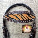 HILASON WESTERN LEATHER HORSE BRIDLE HEADSTALL DARK BROWN W/ TIGER CHEETAH INLAY