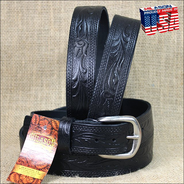 48IN. BLACK 1.5in LEATHER BELT EMBOSSED WESTERN DESIGN MADE IN USA