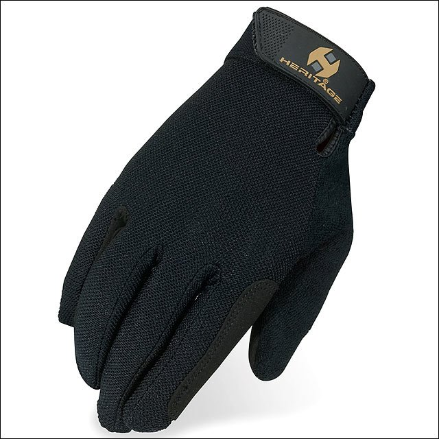 09 SIZE HERITAGE SUMMER TRAINER HORSE RIDING EQUESTRIAN GLOVE LEATHER BLACK