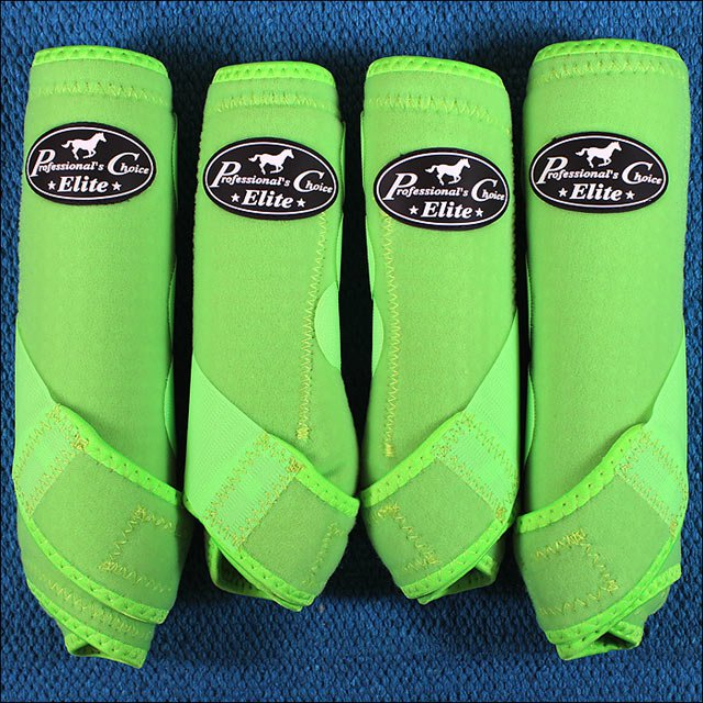 MED PROFESSIONAL CHOICE SPORTS MEDICINE HORSE BOOTS LIME GREEN 4 PACK