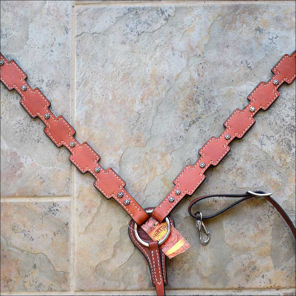 NEW HILASON LEATHER HORSE   BREAST COLLAR WESTERN TACK MAHOGANY