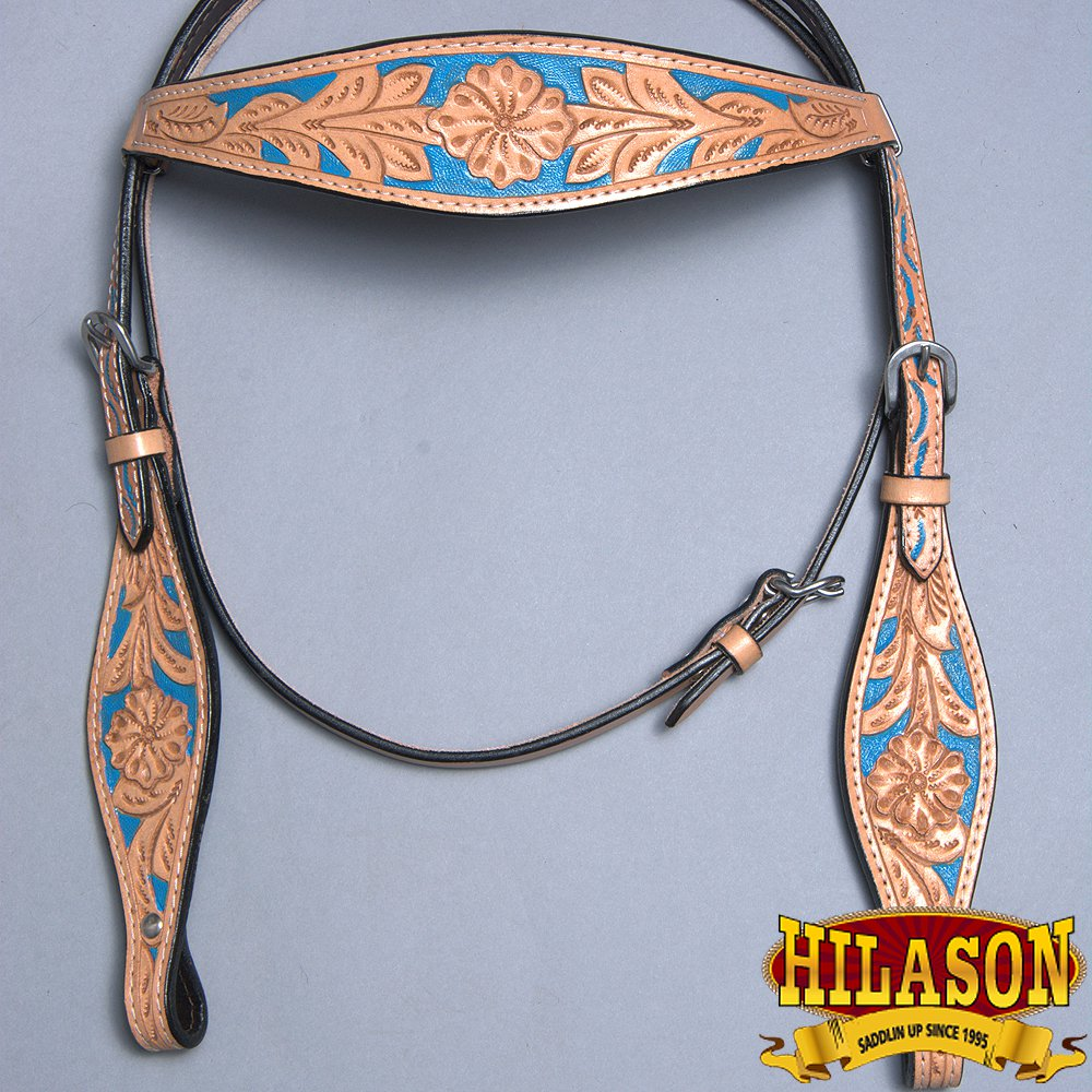 HILASON WESTERN LEATHER HORSE BRIDLE HEADSTALL FLORAL CARVED TAN TURQUOISE INLAY