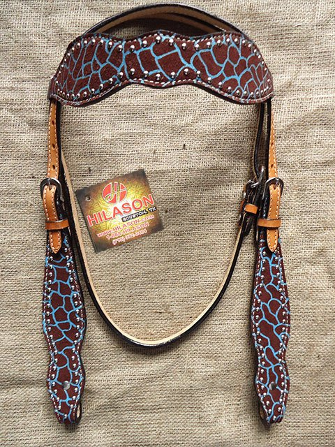 NEW HILASON WESTERN LEATHER HORSE BRIDLE HEADSTALL GIRAFFE W/ TURQUOISE PAINT