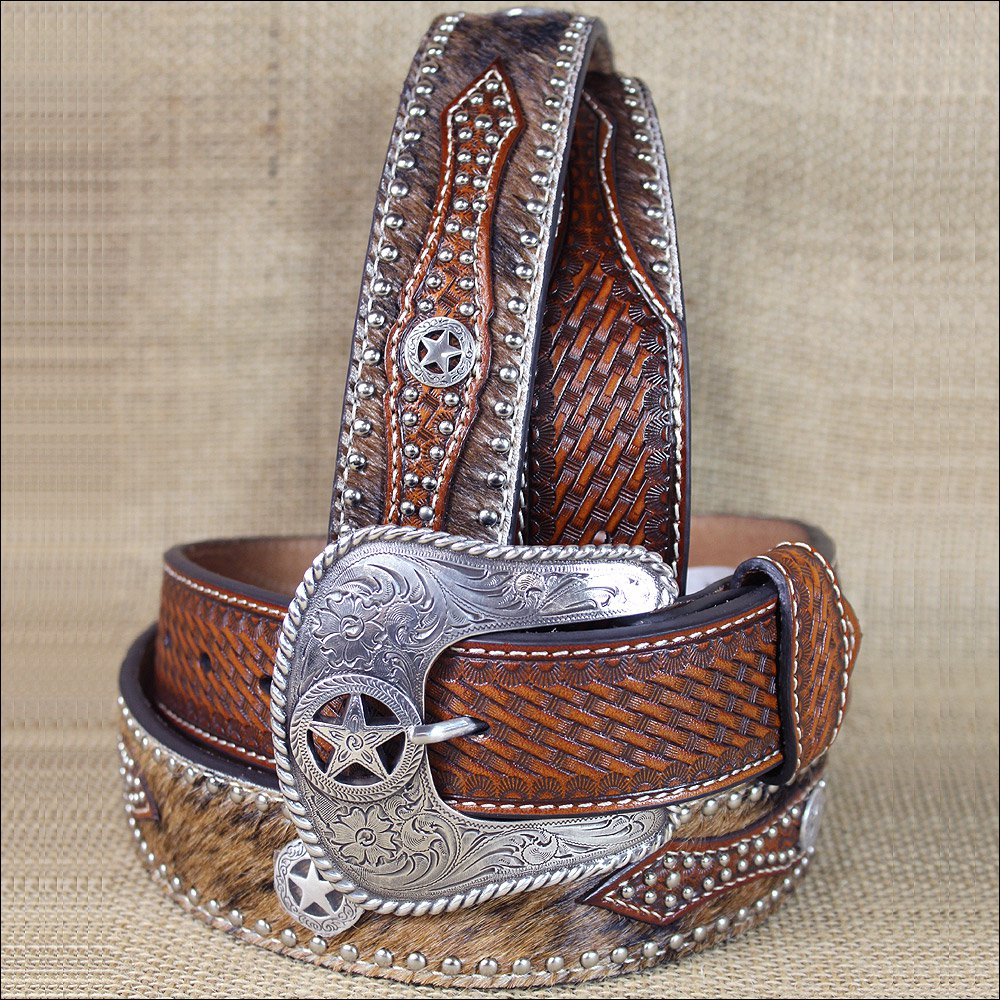 34 INCH WESTERN NOCONA HAIR STAR CONCHO BROWN LEATHER MENS BELT