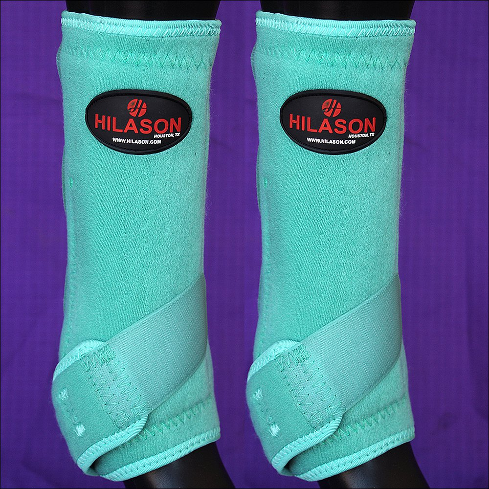 SMALL HILASON TURQUOISE HORSE REAR LEG PROTECTION ULTIMATE SPORTS BOOTS PAIR