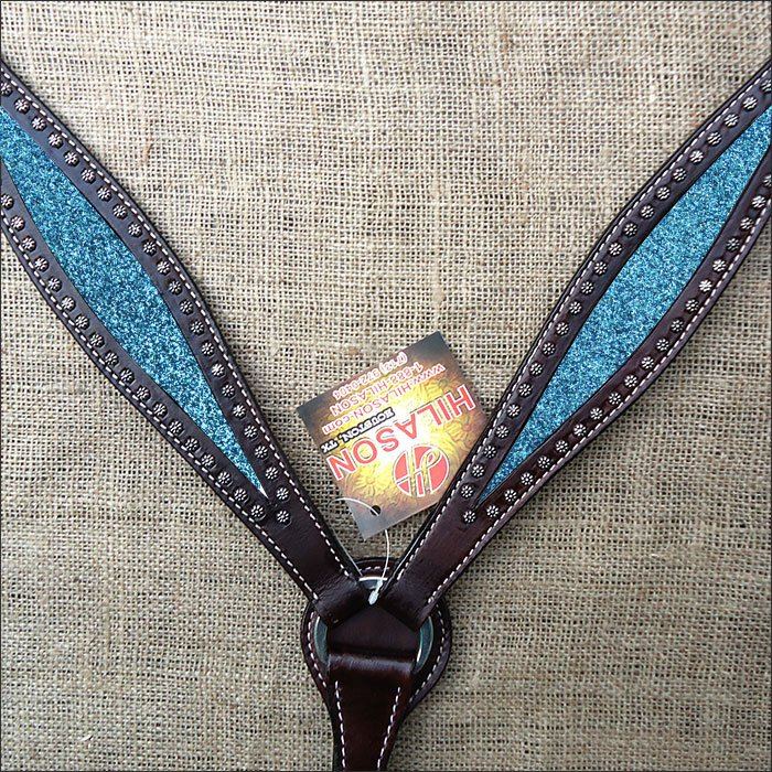 HILASON WESTERN LEATHER HORSE BREAST COLLAR BROWN W/ TURQUOISE INLAY