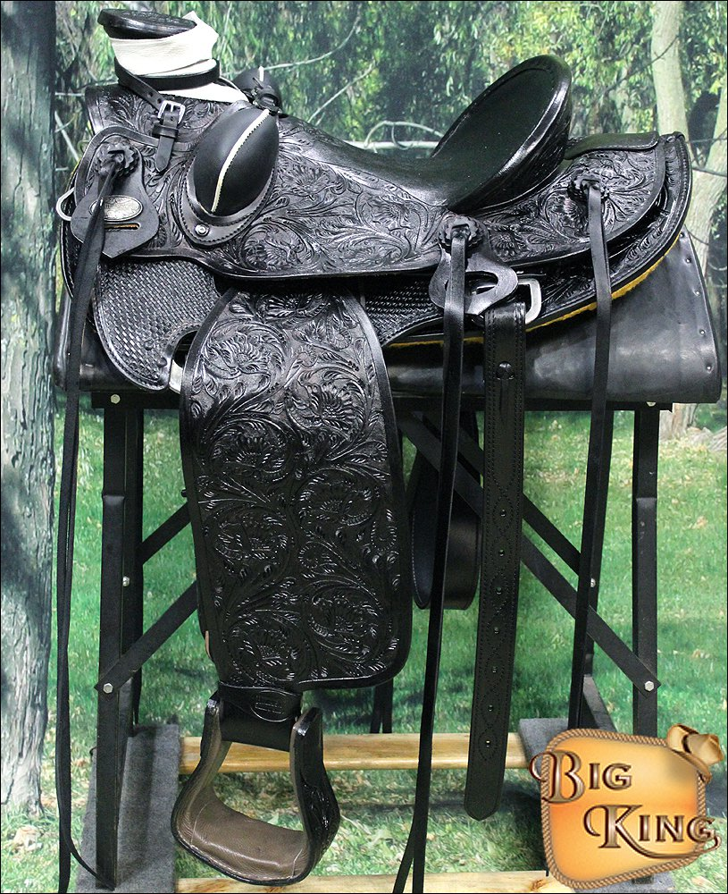 WD005BK-F HILASON BIG KING WESTERN WADE RANCH ROPING COWBOY TRAIL SADDLE 15""