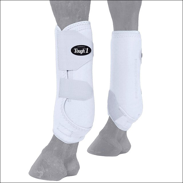 SMALL TOUGH 1 EXTREME VENTED FLEXIBLE HORSE LEG FRONT SPORT BOOTS PAIR WHITE