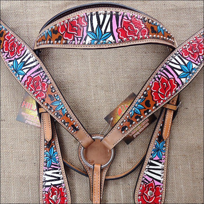 S510 NEW HILASON WESTERN HAND PAINT LEATHER HORSE BRIDLE HEADSTALL BREAST COLLAR