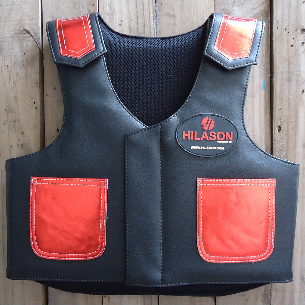 PV809Y-F HILASON KIDS JUNIOR YOUTH BULL RIDING PRO RODEO LEATHER PROTECTIVE VEST