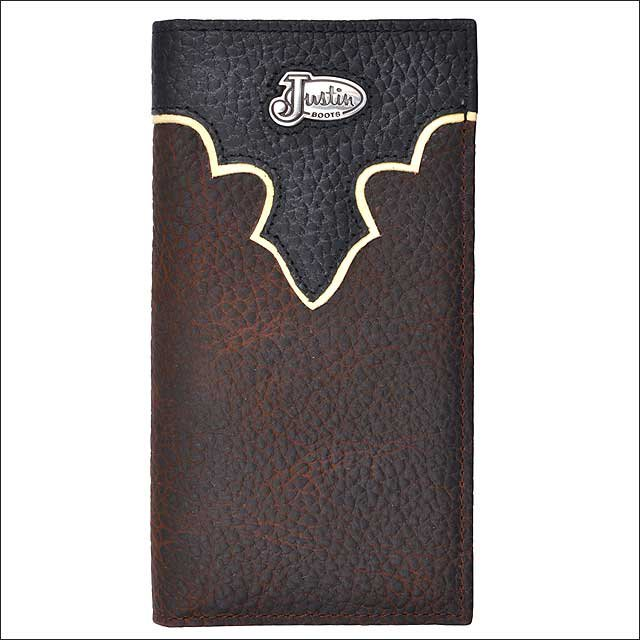 JUSTIN BROWN LEATHER WESTERN MENS BULL RODEO WALLET W/ BLACK BULLHIDE OVERLAY