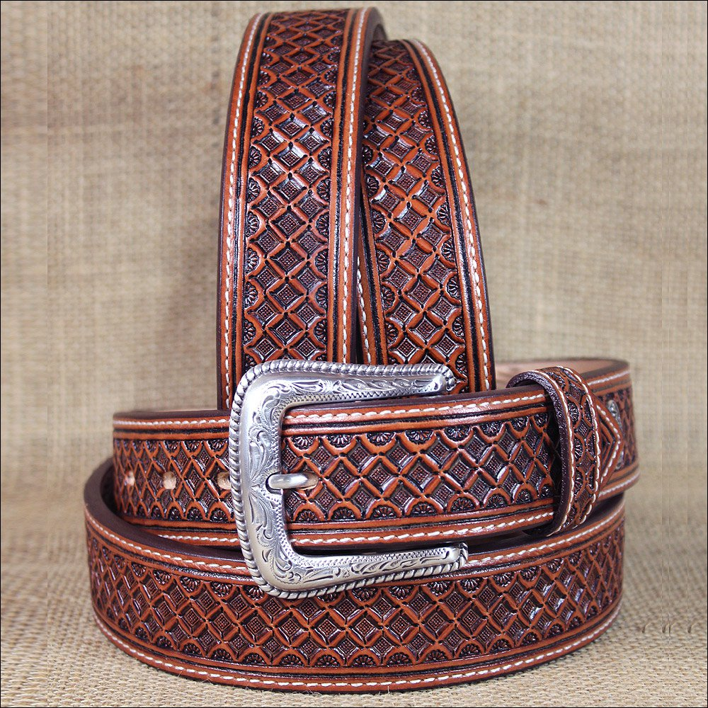 34 INCH WESTERN NOCONA LEATHER MENS BELT TOOLED SQUARE WEAVE COPPER
