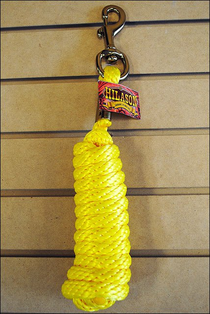 YELLOW HILASON WESTERN TACK HORSE POLY SOFT LEAD ROPES W/ BRASS PLATED SNAP