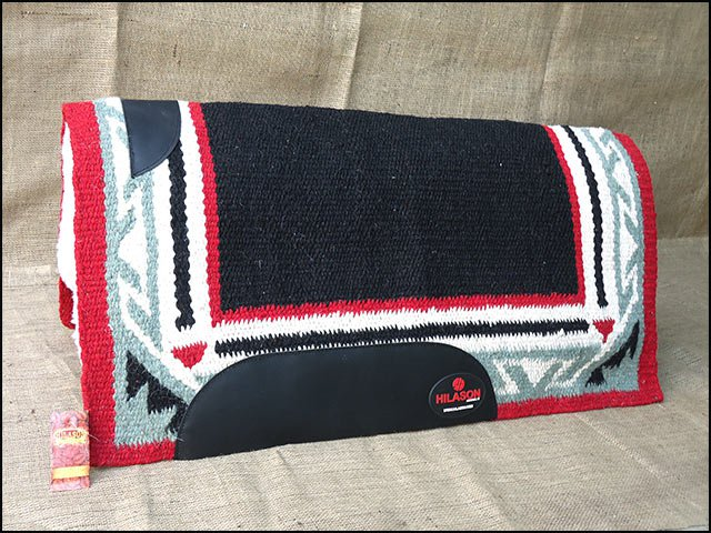 MADE IN USA FE225 HILASON WESTERN WOOL FELT SADDLE BLANKET PAD BLACK RED WHITE