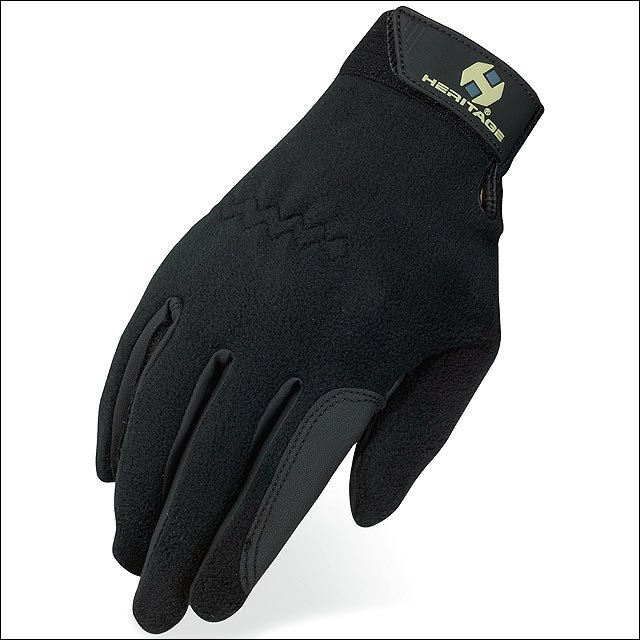 10 SIZE HERITAGE PERFORMANCE FLEECE LEATHER HORSE RIDING EQUESTRIAN GLOVE BLACK