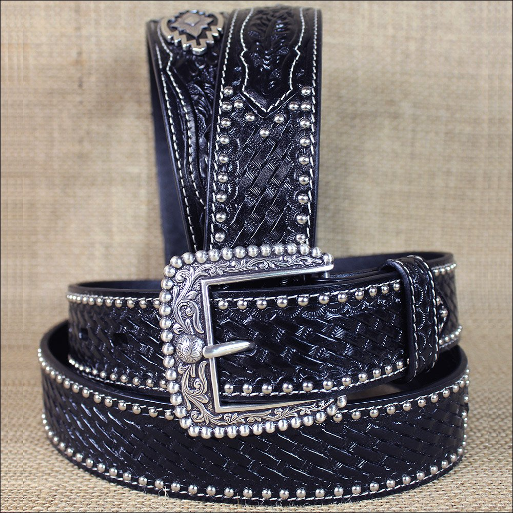 32 in M&F WESTERN ARIAT SANDS BLACK MENS LEATHER BELT BASKET WEAVE W/ CONCHO