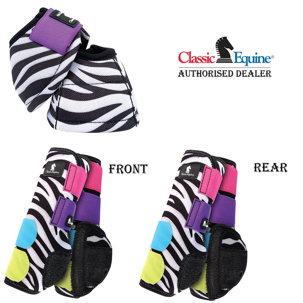 SMALL 6 PACK CLASSIC EQUINE FRONT REAR SPORTS NO TURN BELL BOOTS HORSE ZEBRA