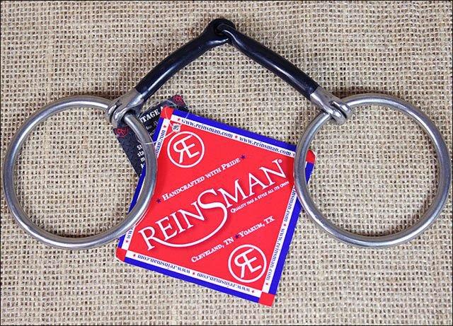 REINSMAN MEDIUM LOOSE RING 3/8 INCH SMOOTH SWEET IRON HORSE SNAFFLE BIT