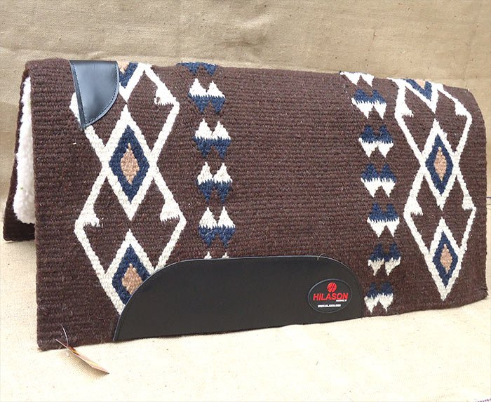 MADE IN USA FE308 HILASON WESTERN WOOL FELT SADDLE BLANKET PAD BROWN WHITE