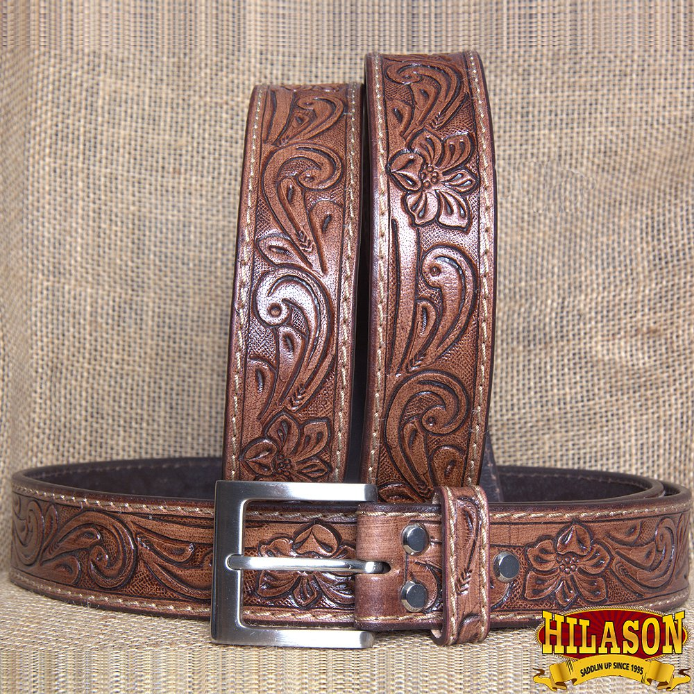 GM302-F HILASON HAND MADE HEAVY DUTY BUFFALO HIDE LEATHER STICHED BELT 52""