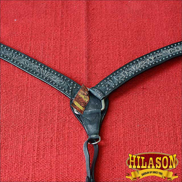 HILASON WESTERN LEATHER HORSE BREAST COLLAR ANTIQUE BLACK HAND FLORAL CARVED