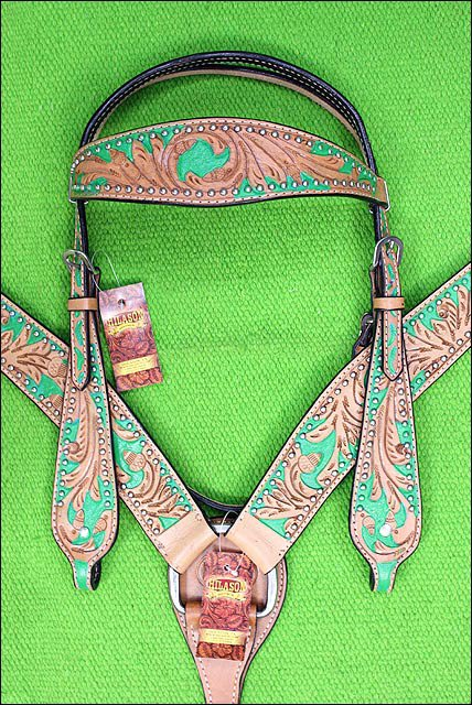 HILASON WESTERN LEATHER HORSE BRIDLE HEADSTALL BREAST COLLAR TAN GREEN