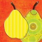 Green Pears on Orange Background