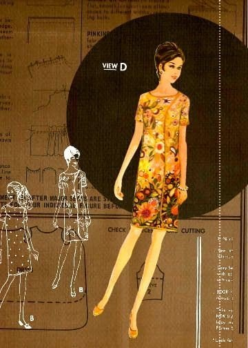 Lady in flowered vintage dress and pattern collage print, matted 8x10