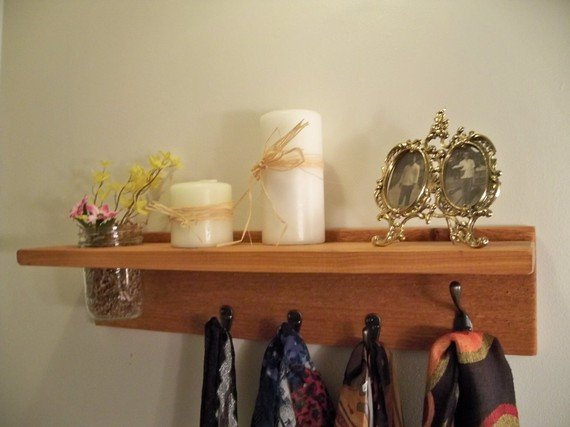 Primative Country Shelf 4 hook Cottage Decor Natural CEDAR Wood