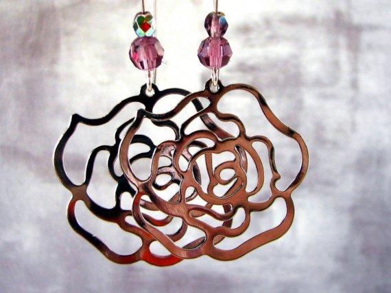Rosa - amethyst crystal silver rose hoop mod earrings