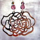 Rosa - amethyst crystal silver rose hoop mod earrings