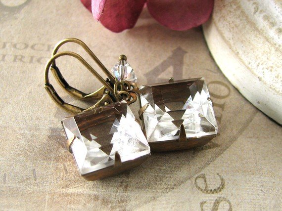 Crystalline Romance - vintage clear jewel brass earrings - Estate Style