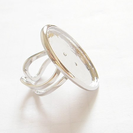 25 Oval Shaped Ring Bases/Sterling Silver Plated/Perfect for Cabochons,nickel free