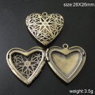 100pcs/pack Brass Locket Photo Pendant,26X26mm,hole:1.5mm,ID3281