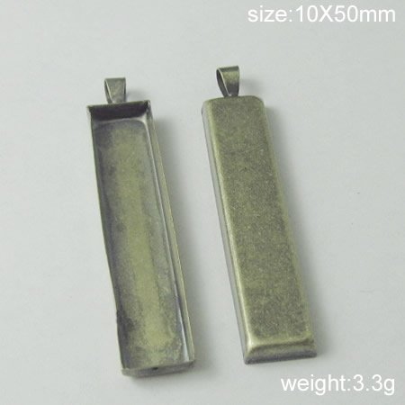 100s/pack,Hot sale,Rectangle, Brass Pendant Blank,10X50mm,ID6093