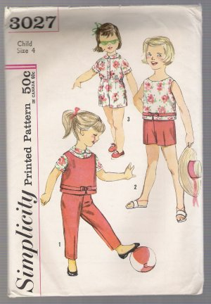 Child's Top, Blouse and Pants in Two Lengths Simplicity #3027 Sewing Pattern