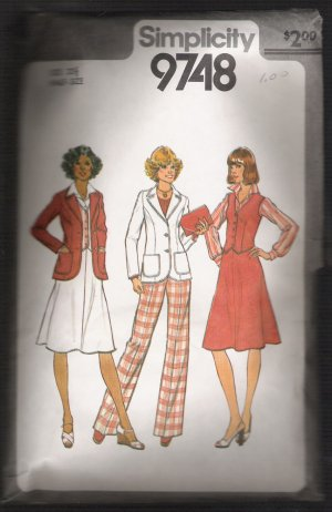 Unlined jacket, vest, skirt and pants in half-sizes, Simplicity #9748 Sewing pattern