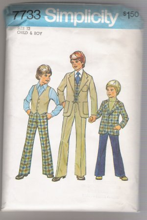 Child's and Boys' Jacket, Vest, and Pants Simplicity #7733 Sewing Pattern