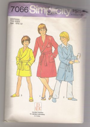 Incomplete Boys' Robe in Two Lengths Simplicity #7066 Sewing Pattern