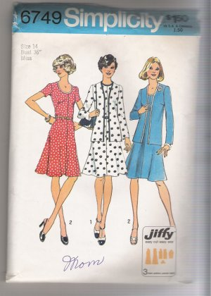 Misses' Jiffy Unlined Cardigan and Dress Simplicity #6749 Sewing Pattern