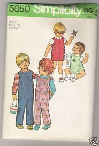 Toddlers' Jumpsuit in Two Lengths and Shirt Simplicity #5050 Sewing Pattern