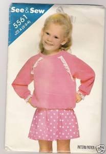 Children's Top & Skirt Butterick # 5561 Sewing Pattern
