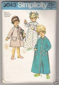 Toddlers' Robe in Two Lengths and Nightgown Simplicity #9043 Sewing Pattern