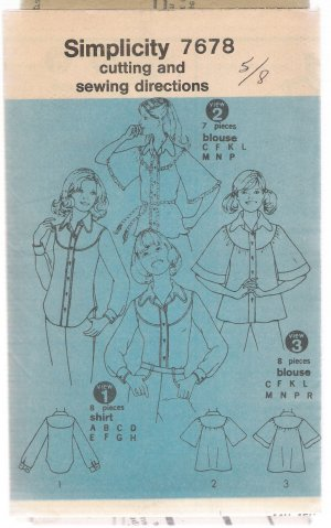 Junior or Teen Shirt or Blouses Simplicity #7678 Sewing Pattern