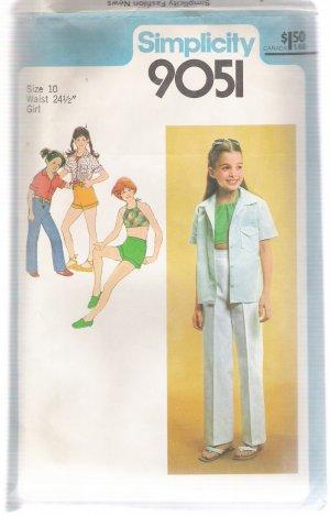 Girls' Shirt, Bias Halter, Pants and Shorts Simplicity #9051 Sewing Pattern
