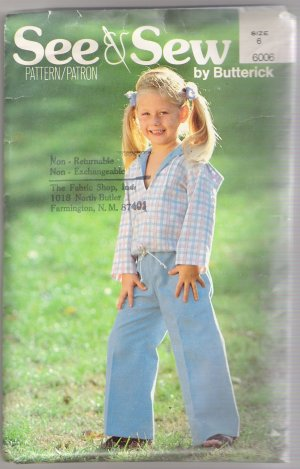 Children's Top & Pants Butterick #6006 Sewing Pattern