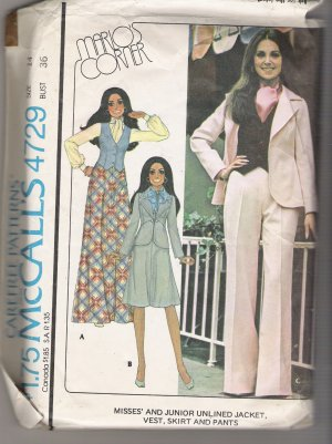 Misses' and Junior Unlined Jacket, Vest, Skirt and Pants McCall's #4729 Sewing Pattern